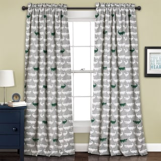Lush Decor Alligator Room Darkening Window Curtain Panel Pair