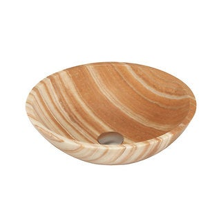 Honey-colored Onyx and Stone Vessel-style Bathroom Sink