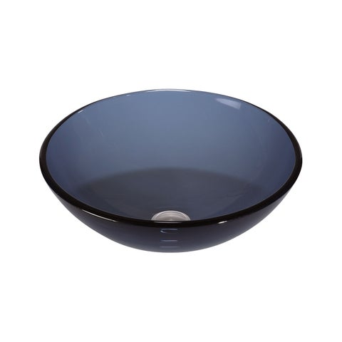 Lenova Blue Glass 16-inch x 6-inch Vessel Bathroom Sink