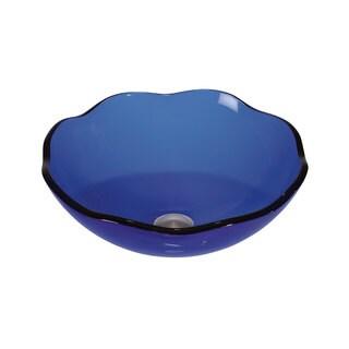 Blue Glass 16-inch x 6-inch Bathroom Sink