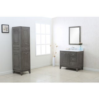 Legion Furniture Silver Grey 36-inch Sink Vanity Cabinet with Matching Mirror and Side Cabinet