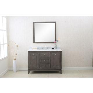 Legion Furniture Silver Grey Wood White Carrara Marble 48-inch Bathroom Vanity with 36-inch Glass Mirror