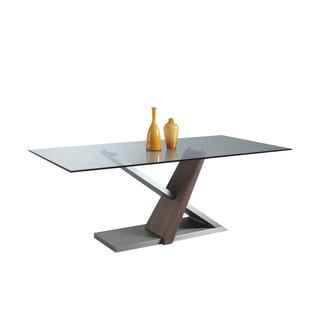 Christopher Knight Home Sadie Brushed Nickel Finish Steel, Wood and Glass Dining Table