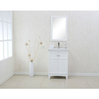 Legion Furniture White MDF and Porcelain 24-inch Sink Vanity with Matching Mirror
