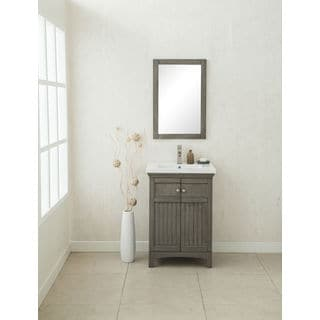 Legion Furniture 24-inch Single-basin Vanity with Matching Mirror