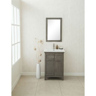Legion Furniture 24-inch Single-basin Vanity with Matching Mirror