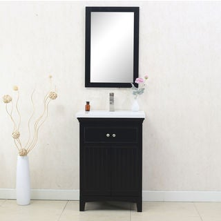 Legion Furniture 24-inch Espresso Sink Vanity with Matching Mirror