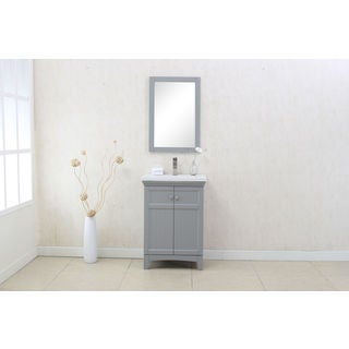 Legion Furniture Grey Wood and Porcelain 24-inch Vanity With Mirror