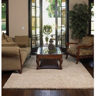 Shaw Uptown Girl Beige Nylon/Polyester Premium Shag Area Rug (5' x 7') (More options available)
