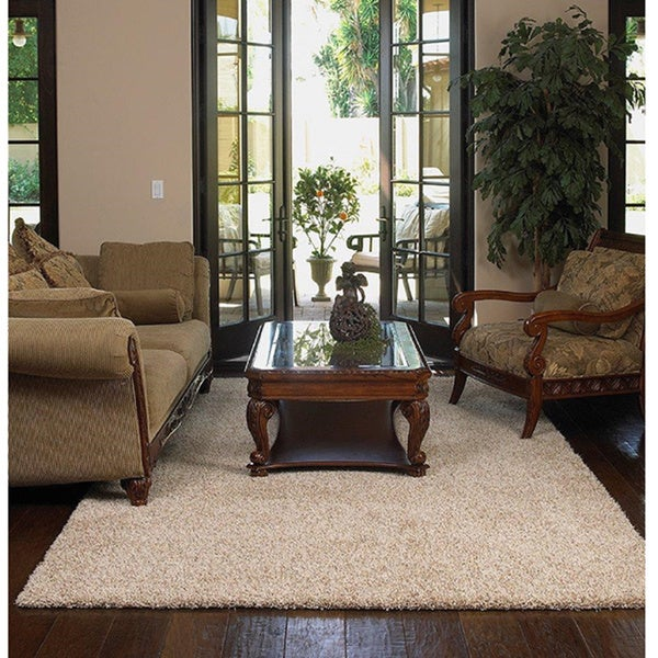 Shaw Uptown Girl Solid-colored Nylon/Polyester Premium Shag Oversized Area Rug (12' x 15') - 12' x 15'