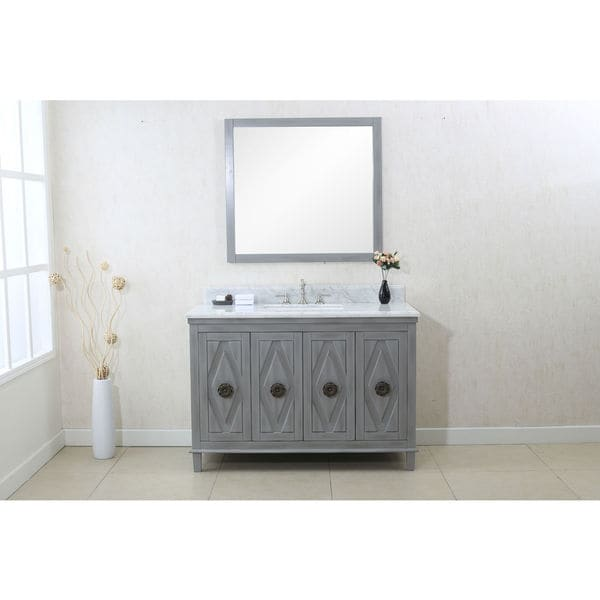 Legion furniture grey 48 inch sink vanity cabinet with 36 for Legion furniture 30 inch bathroom vanity