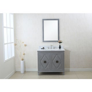 Legion Furniture Grey 36-inch Sink Vanity Cabinet with Matching Mirror