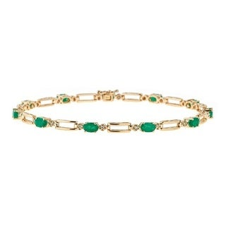 Anika and August 14k Yellow Gold Zambian Emerald and Diamond Accent Bracelet