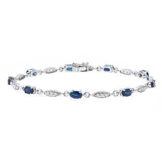 Anika and August 14k White Gold Blue Sapphire and 1/3ct TDW Diamond Bracelet (G-H, I1-I2)