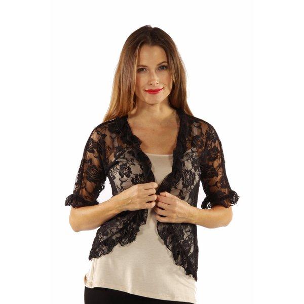 24 7 Comfort Apparel Women  x27 s Goddess Black Lace Bolero Cardigan Shrug c4bf13990