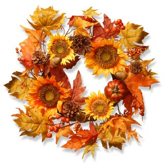 National Tree Company Harvest Accessories Fabric 22-inch Sunflower and Pumpkin Wreath