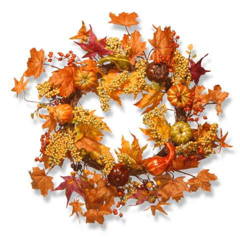 Harvest Accessories 24-inch Wreath with Maples and Pumpkins
