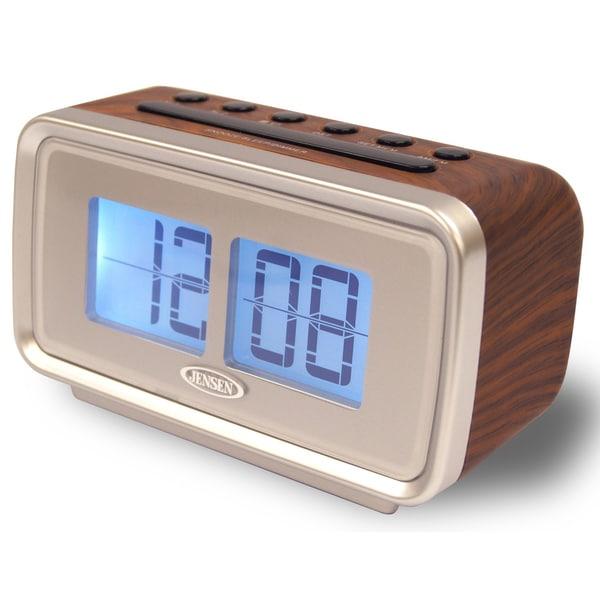 "Spectra Mechandising JCR-232 3.2"" X 5.5"" X 2.6"" Silver & Faux Wood Retro Dual Alarm Clock"