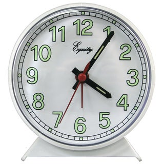 Equity 14076 White Easy-To-Read Analog Alarm Clock