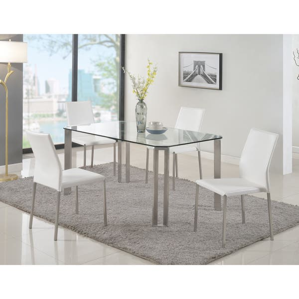 Somette Raika Clear Tempered Glass And Brushed Stainless Steel Dining Table