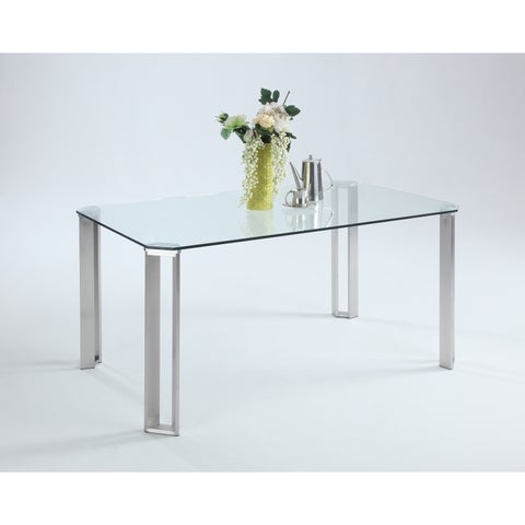 Christopher Knight Home Raika Clear Tempered Glass and Brushed Stainless Steel Dining Table