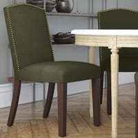 Skyline Furniture Regal Velvet Moss Cotton Arched Dining Chair