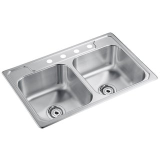 """Sterling 14708-4-NA 33"""" X 22"""" X 8"""" Stainless Steel Double Bowl Sink"""