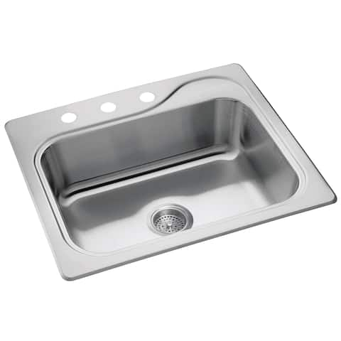 """Sterling 11405-3-NA 25"""" x 22"""" x 8"""" Stainless Steel Southhaven Kitchen Sink"""