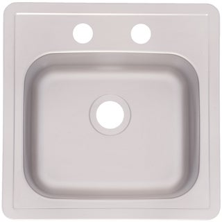 """Fhp FBS602NB 15"""" x 15"""" x 6"""" Satin Stainless Steel 2 Hole Sink"""