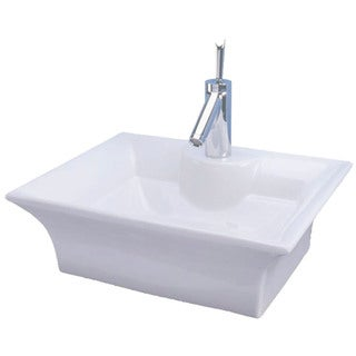 "Cascadian Sanitary Ware L3580 18"" X 14"" White Tango Design Rectangular Lavatory Sink"