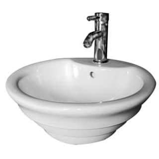 "Cascadian Sanitary Ware L3541 18.1"" White Round Vessel Lavatory"