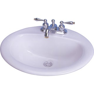 """Cascadian Sanitary Ware L1290-8 20"""" X 17"""" White Oval Victor Drop In Lavatory Sink"""