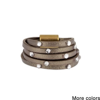 Saachi Multi Stranded Leather Ring with Crystal Accents (China)