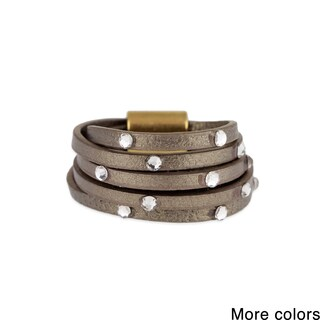 Handmade Saachi Multi Stranded Leather Ring with Crystal Accents (China)