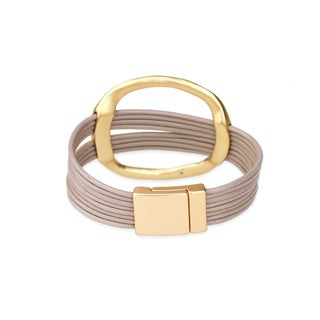 Saachi Hoop Statement Layer Leather Bracelet (China)