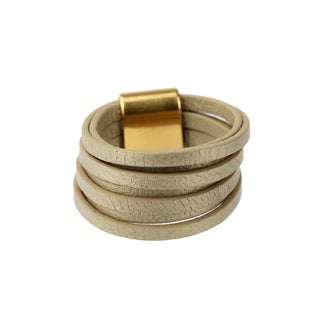 Handmade Saachi Taupe Stranded Leather Ring (China)