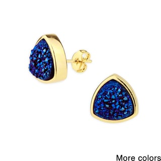 Handmade Saachi Pyramid Druzy Stud Earrings (China)