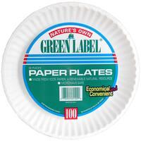 "AJM PP9GRAWH 9"" White Paper Plates 100 Count"