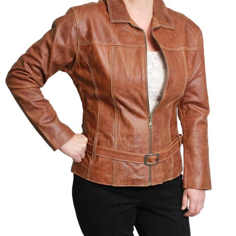Ladies Leather Zip-front with Belt Jacket (Ecuador)