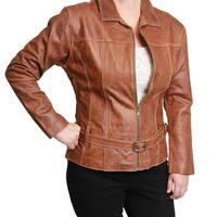 Ladies Leather Zip-front with Belt Jacket (Ecuador)