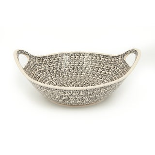 Stoneware 13.5-inch Handled Serving Bowl (Poland)