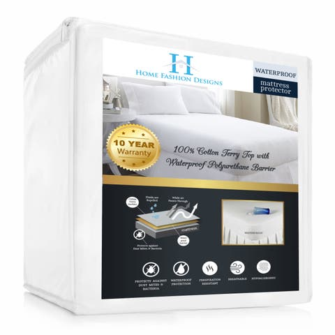 Home Fashion Designs Hypoallergenic Waterproof Mattress Protector - White