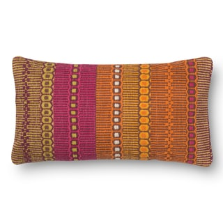 Woven Cotton Orange/ Pink Bohemian Feather and Down Filled or Polyester Filled 12 x 22 Throw Pillow or Pillow Cover