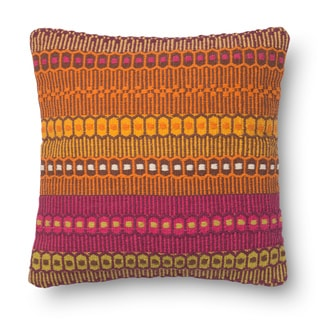 Woven Cotton Orange/ Pink Bohemian Feather and Down Filled or Polyester Filled 18-inch Throw Pillow or Pillow Cover