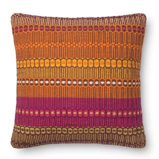 Woven Cotton Orange/ Pink Bohemian Feather and Down Filled or Polyester Filled 22-inch Throw Pillow or Pillow Cover