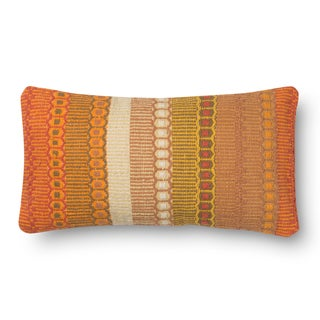 Woven Cotton Orange Bohemian Feather and Down Filled or Polyester Filled 12 x 22 Throw Pillow or Pillow Cover