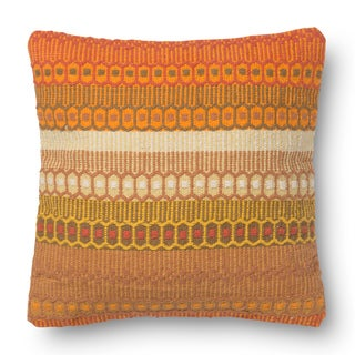 Woven Cotton Orange Bohemian Feather and Down Filled or Polyester Filled 18-inch Throw Pillow or Pillow Cover