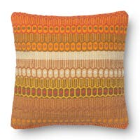 Woven Cotton Orange Bohemian 18-inch Throw Pillow or Pillow Cover