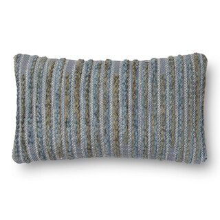 Woven Blue Multi Stripe Feather and Down Filled or Polyester Filled 12 x 22 Throw Pillow or Pillow Cover