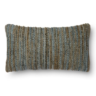 Woven Blue/ Brown Multi Stripe Feather and Down Filled or Polyester Filled 12 x 22 Throw Pillow or Pillow Cover